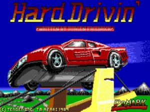 Hard Drivin DOS 300x225 - Crossover - Superspecial: Hard Drivin' (C64/PC, 1989)
